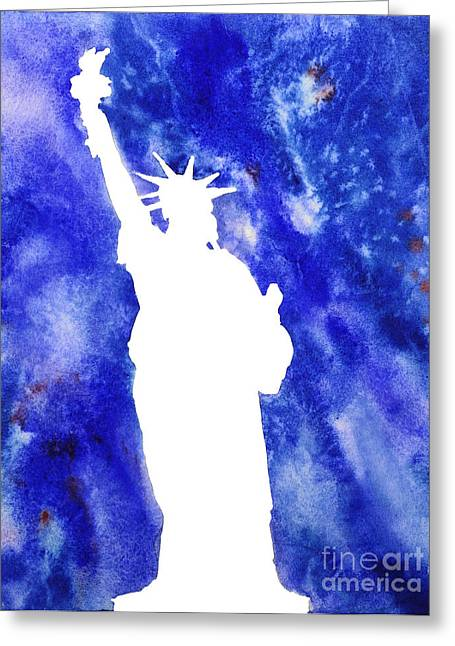 Justice Paintings Greeting Cards - Statue of Liberty Cool Silhouette Greeting Card by Ryan Fox