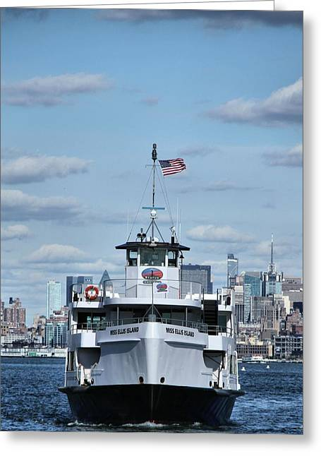 Rip Tide Greeting Cards - Statue Of Liberty Ferry Greeting Card by Dan Sproul