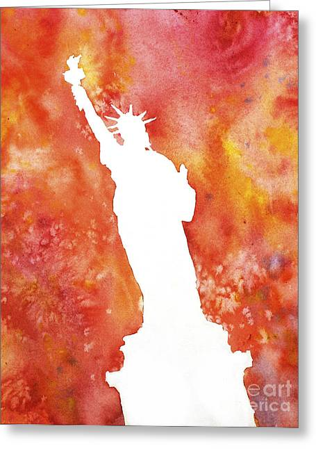 American Watercolor Society Greeting Cards - Statue of Liberty Fiery Silhouette Greeting Card by Ryan Fox