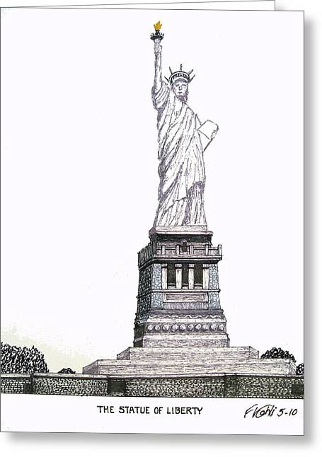 Statue Of Liberty Greeting Card by Frederic Kohli