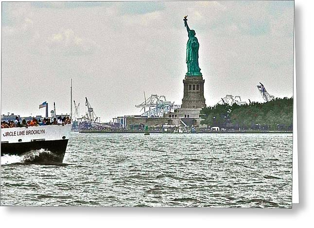Ferry In New York Greeting Cards - Statue of Liberty from Battery Park in New York City-NY Greeting Card by Ruth Hager