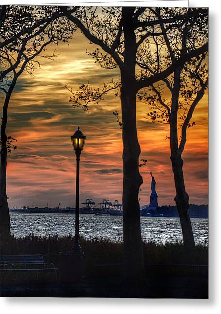 Battery Park Greeting Cards - Statue of Liberty from Battery Park Greeting Card by Marianna Mills