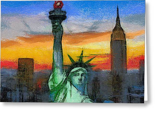 Libertas Greeting Cards - Statue of Liberty Greeting Card by Georgi Dimitrov