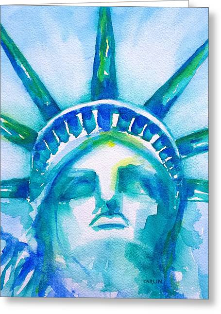 Statue Portrait Paintings Greeting Cards - Statue of Liberty Head abstract Greeting Card by Carlin Blahnik