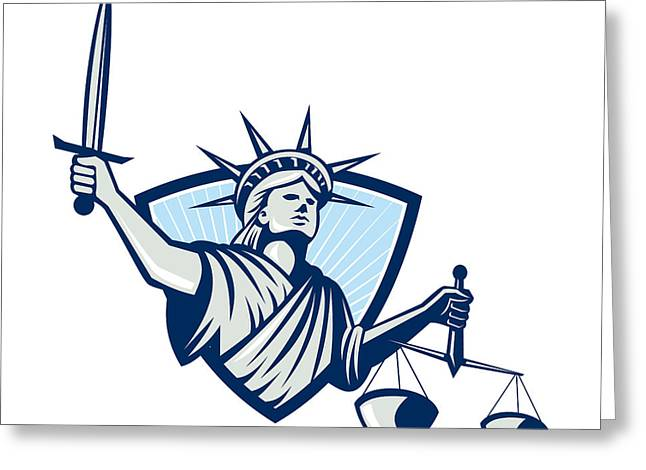 Statue Of Liberty Holding Scales Justice Sword Greeting Card by Aloysius Patrimonio