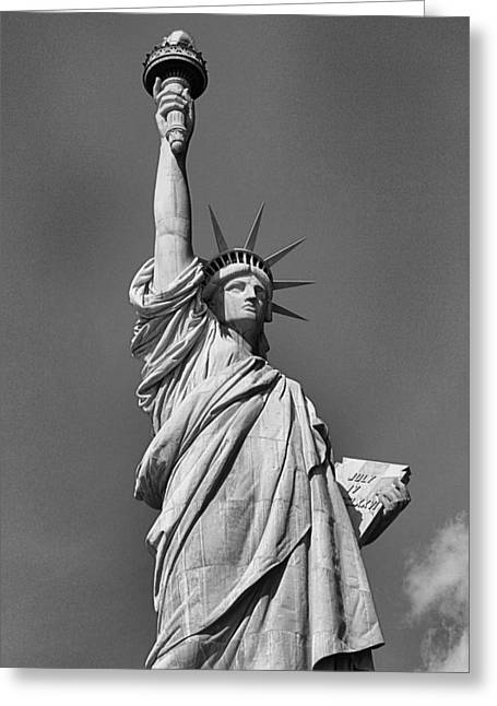 New Mind Greeting Cards - Statue Of Liberty In Black And White Greeting Card by Dan Sproul