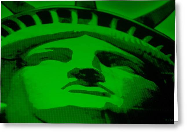Statue Portrait Mixed Media Greeting Cards - STATUE OF LIBERTY in GREEN Greeting Card by Rob Hans