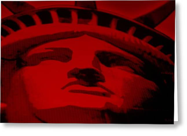 Statue Portrait Mixed Media Greeting Cards - STATUE OF LIBERTY in RED Greeting Card by Rob Hans