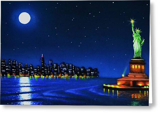 Glow Murals Greeting Cards - Statue of Liberty in the NY horbor Greeting Card by Thomas Kolendra