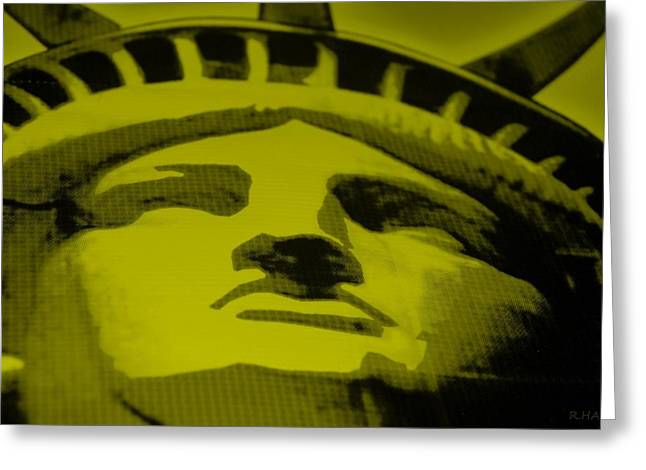 Statue Portrait Mixed Media Greeting Cards - STATUE OF LIBERTY in YELLOW Greeting Card by Rob Hans