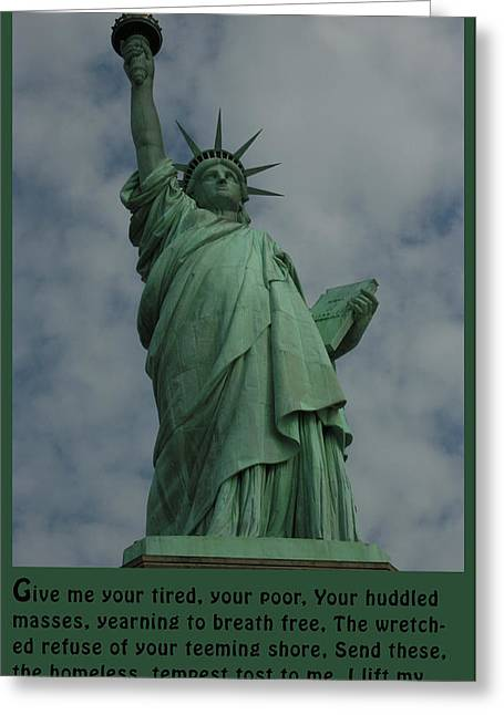 Emma Greeting Cards - Statue of Liberty Inscription Greeting Card by National Park Service
