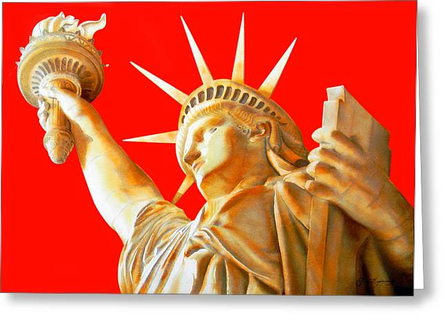 Unique Art Drawings Greeting Cards - Statue Of Liberty Greeting Card by Jose Espinoza
