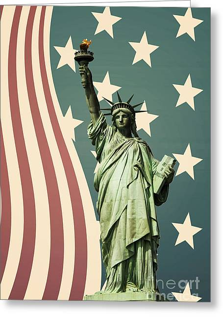 Libertas Greeting Cards - Statue of Liberty Greeting Card by Juli Scalzi