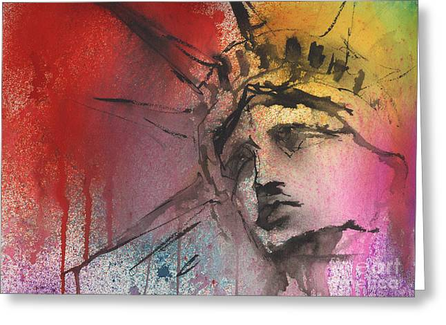 Liberty Greeting Cards - Statue of Liberty New York painting Greeting Card by Svetlana Novikova
