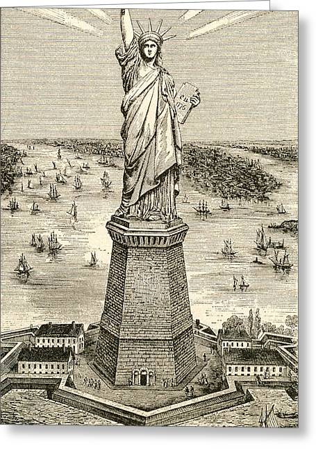 Colossal Greeting Cards - Statue Of Liberty, New York, United States Of America Soon After Its Dedication On October 28 Greeting Card by Bridgeman Images