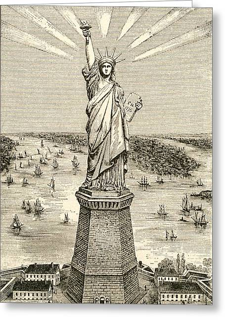 Statue Of Liberty, New York Greeting Card by American School