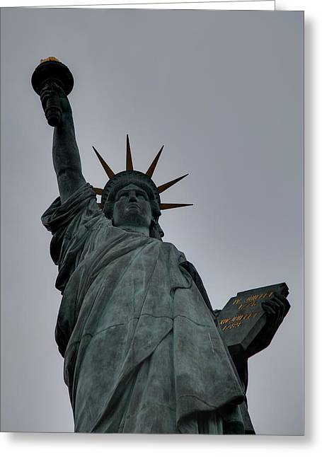 Liberty Photographs Greeting Cards - Statue of Liberty - Paris France - 01132 Greeting Card by DC Photographer