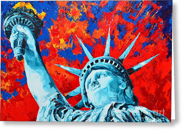 Colossal Greeting Cards - Statue of Liberty - Lady Liberty Greeting Card by Patricia Awapara