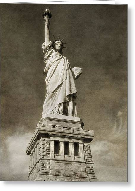 National Anthem Greeting Cards - Statue Of Liberty Sepia Greeting Card by Dan Sproul