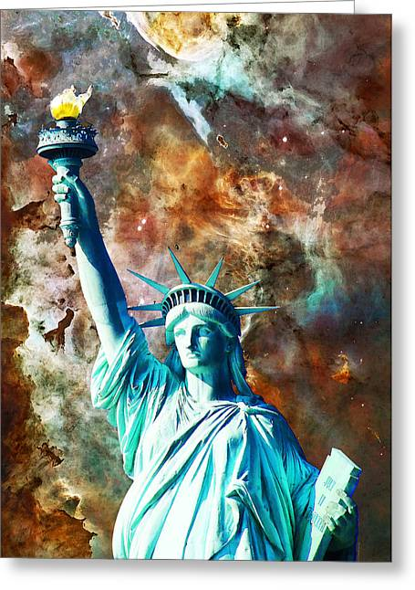 .freedom Mixed Media Greeting Cards - Statue Of Liberty - She Stands Greeting Card by Sharon Cummings