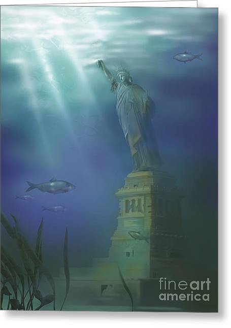 Flooding Greeting Cards - Statue Of Liberty Under Water Greeting Card by Gwen Shockey
