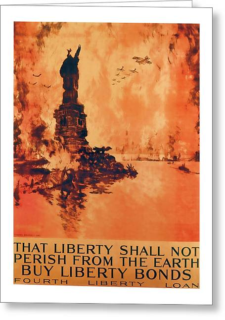 Enlistment Greeting Cards - Statue Of Liberty Vintage World War 1 Art Greeting Card by Presented By American Classic Art