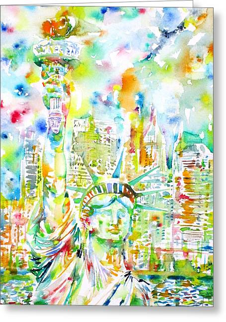 Libertas Greeting Cards - STATUE OF LIBERTY - watercolor portrait Greeting Card by Fabrizio Cassetta