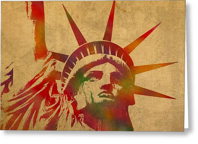 .freedom Mixed Media Greeting Cards - Statue of Liberty Watercolor Portrait No 2 Greeting Card by Design Turnpike