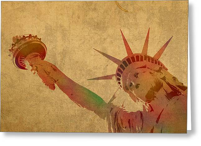 .freedom Mixed Media Greeting Cards - Statue of Liberty Watercolor Portrait No 3 Greeting Card by Design Turnpike
