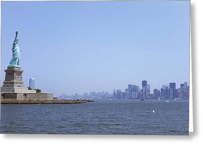 Liberty Island Greeting Cards - Statue Of Liberty With Manhattan Greeting Card by Panoramic Images
