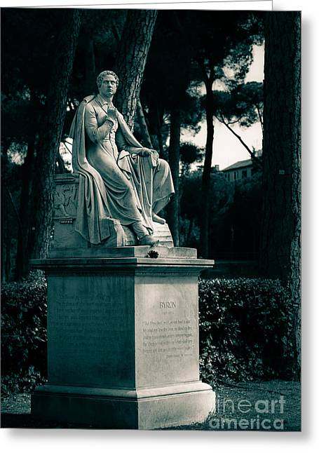 Pinaceae Greeting Cards - Statue of Lord Byron in the Villa Borghese Gardens in Rome Greeting Card by Peter Noyce