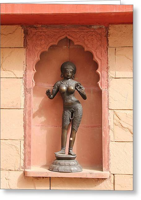Hindu Goddess Greeting Cards - Statue of Maha Devi Greeting Card by Stephen Carver