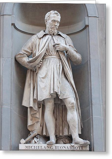Statue Portrait Greeting Cards - Statue of Michelangelo Buonaroti Greeting Card by Brandon Bourdages