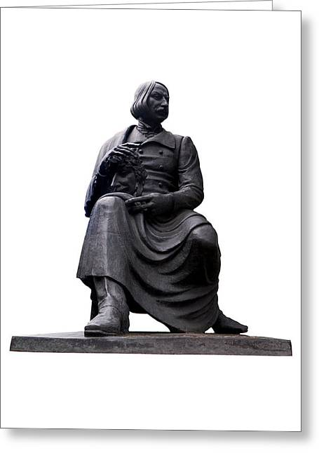 White Background Greeting Cards - Statue of Nikolai Gogol  Greeting Card by Fabrizio Troiani