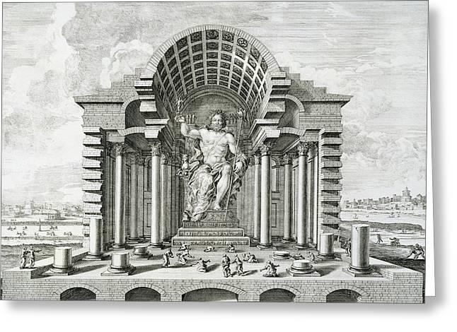Statue of Olympian Zeus Greeting Card by Johann Bernhard Fischer von Erlach
