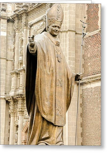 Popes Greeting Cards - Statue of Pope John Paul II Greeting Card by Jess Kraft