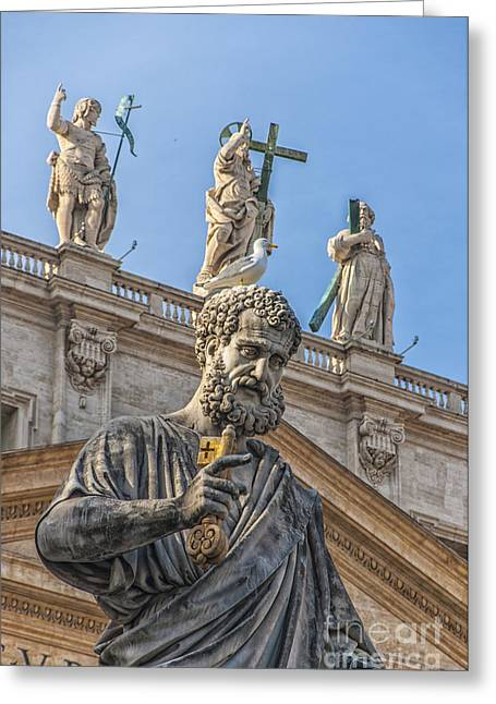 Statue Of Saint Peter Greeting Card by Antony McAulay
