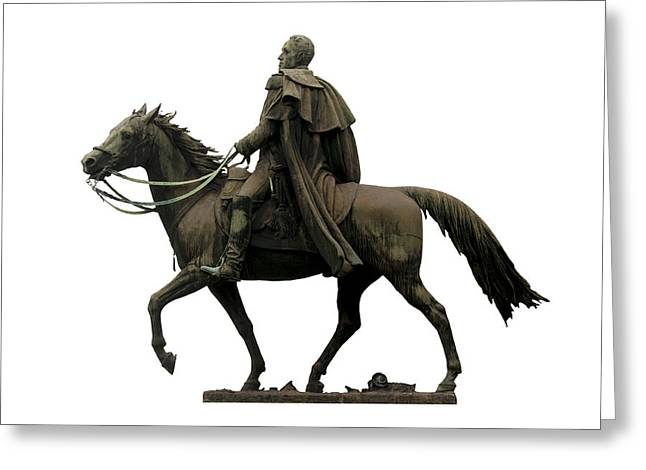 White Background Greeting Cards - Statue of Simon Bolivar Greeting Card by Fabrizio Troiani