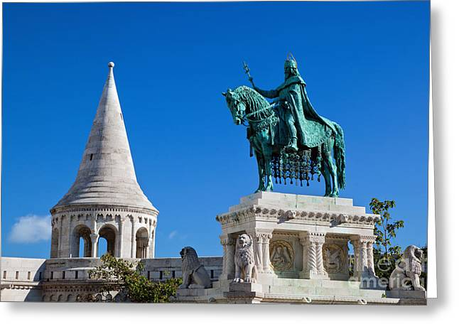 Neo-gothic-style Greeting Cards - Statue of Stephen I in Budapest Greeting Card by Michal Bednarek
