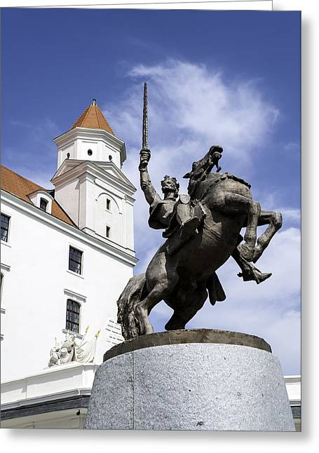 Moravia Greeting Cards - Statue of Svatopluk. Greeting Card by Fernando Barozza