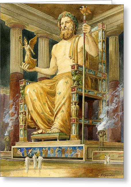Colossal Greeting Cards - Statue Of Zeus At Oympia Greeting Card by English School