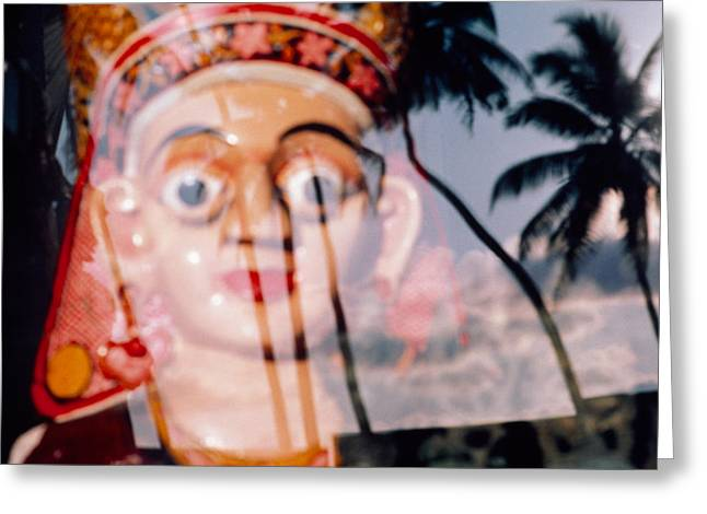 Palm Tree Reflection Greeting Cards - Statue Viewed Through Glass, Sri Lanka Greeting Card by Panoramic Images