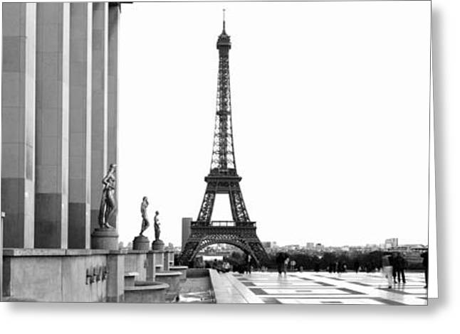 Trocadero Greeting Cards - Statues At A Palace With A Tower Greeting Card by Panoramic Images