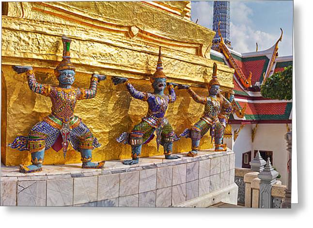 Featured Art Greeting Cards - Statues At A Temple, Wat Phra Kaeo Greeting Card by Panoramic Images