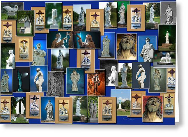 Virgin Mary Greeting Cards - Statues Collage Greeting Card by Thomas Woolworth