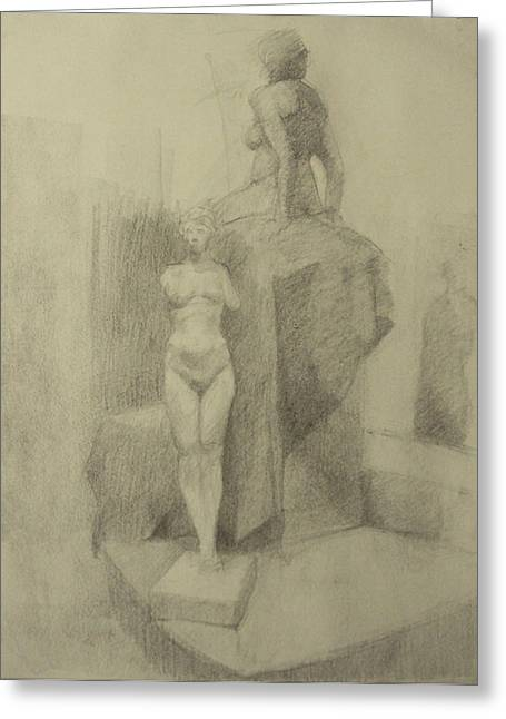 Statues Greeting Card by Cynthia Harvey