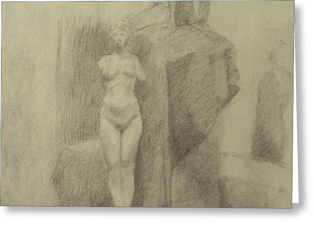Statues Greeting Card by Cynthia Harvey