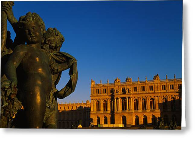 Chateau Greeting Cards - Statues In Front Of A Castle, Chateau Greeting Card by Panoramic Images