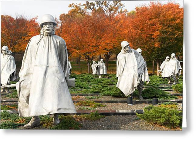 Army Soldier Greeting Cards - Statues Of Army Soldiers In A Park Greeting Card by Panoramic Images
