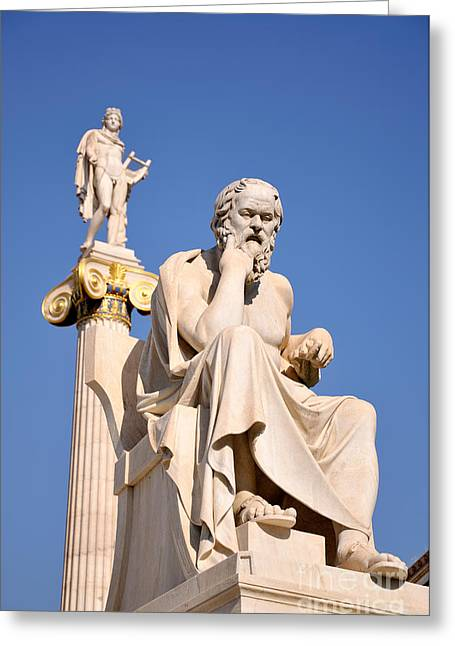 Framed Prints Greeting Cards - Statues of Socrates and Apollo Greeting Card by George Atsametakis